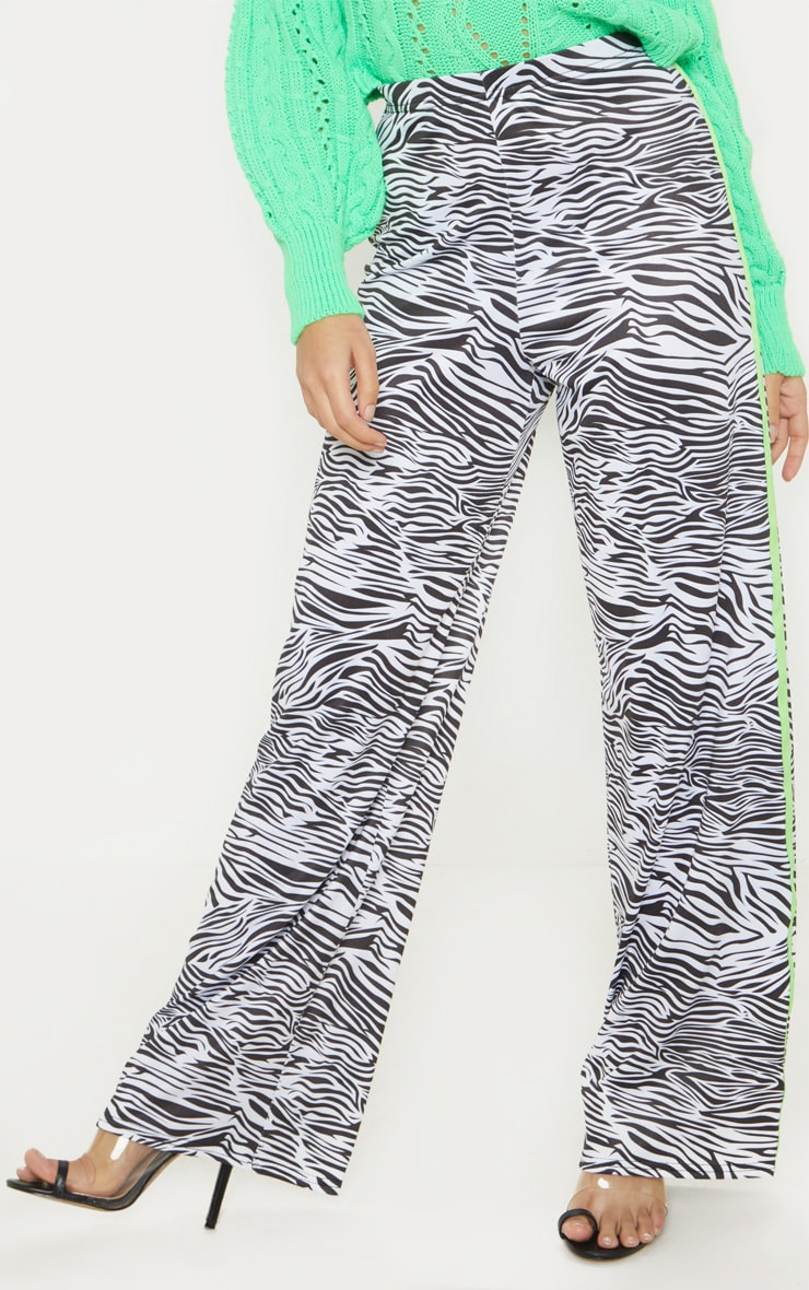 Petite White Zebra Print Neon Stripe Wide Leg Pants  4