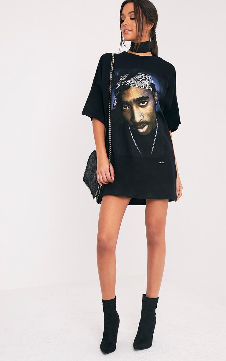 d0a9008a4a6 2Pac Portrait Black T-Shirt Dress image 5