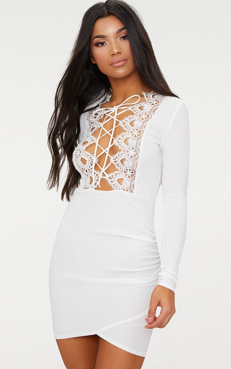 White Lace Up Long Sleeve Wrap Detail Bodycon Dress  1