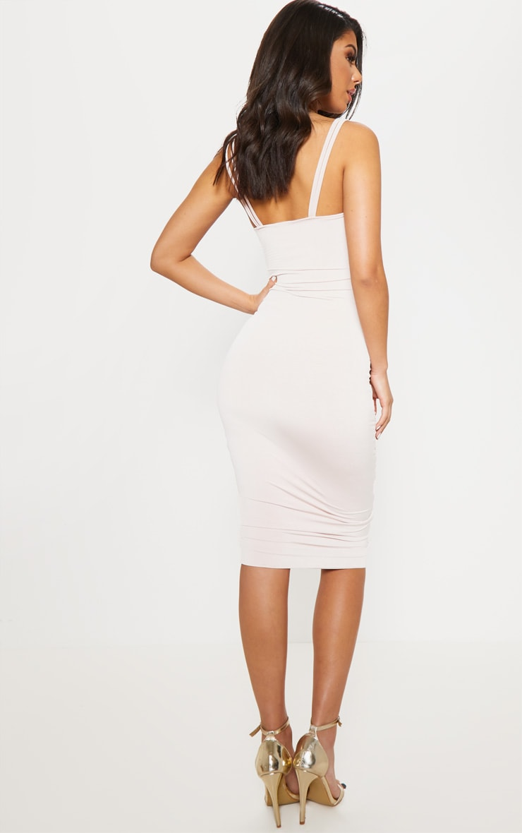 Nude Slinky Ruched Midaxi Dress 2