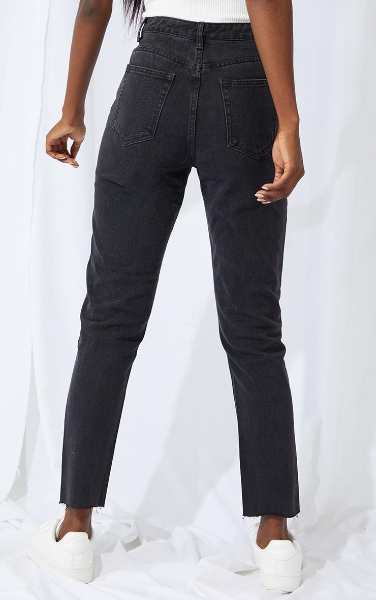PRETTYLITTLETHING Tall Black Raw Hem Cropped Slim Mom Jean 3