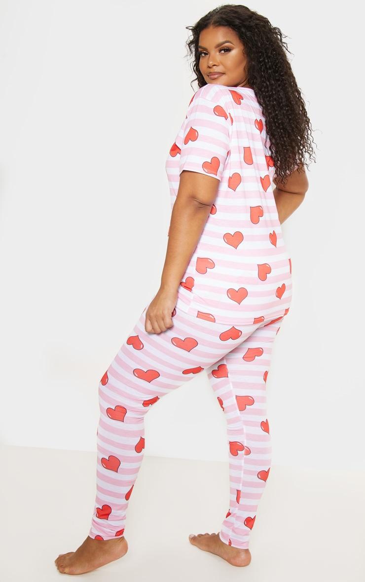 Plus Pink Stripe Heart Print Pj Set 2