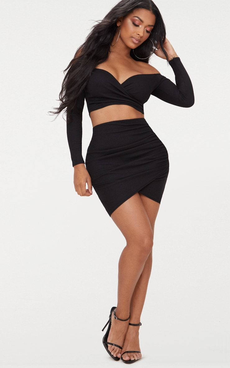 Shape Black Ribbed Bodycon Skirt 5