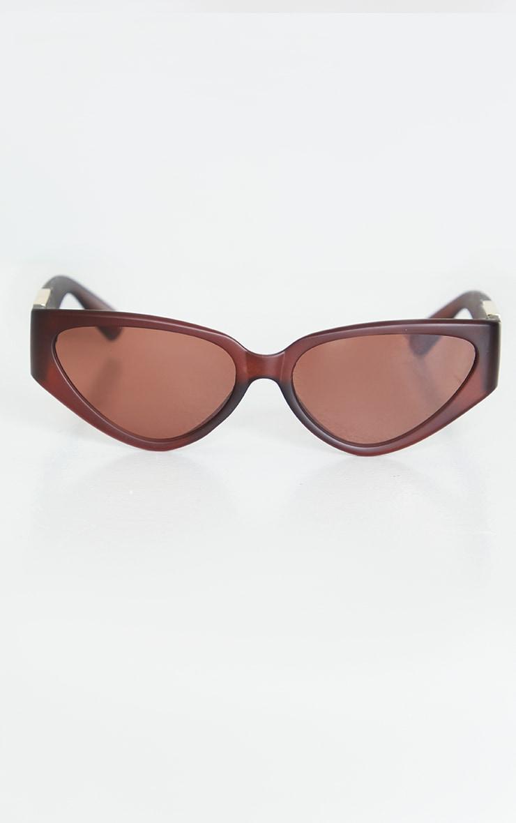 Brown Flat Cat Eye Sunglasses 2