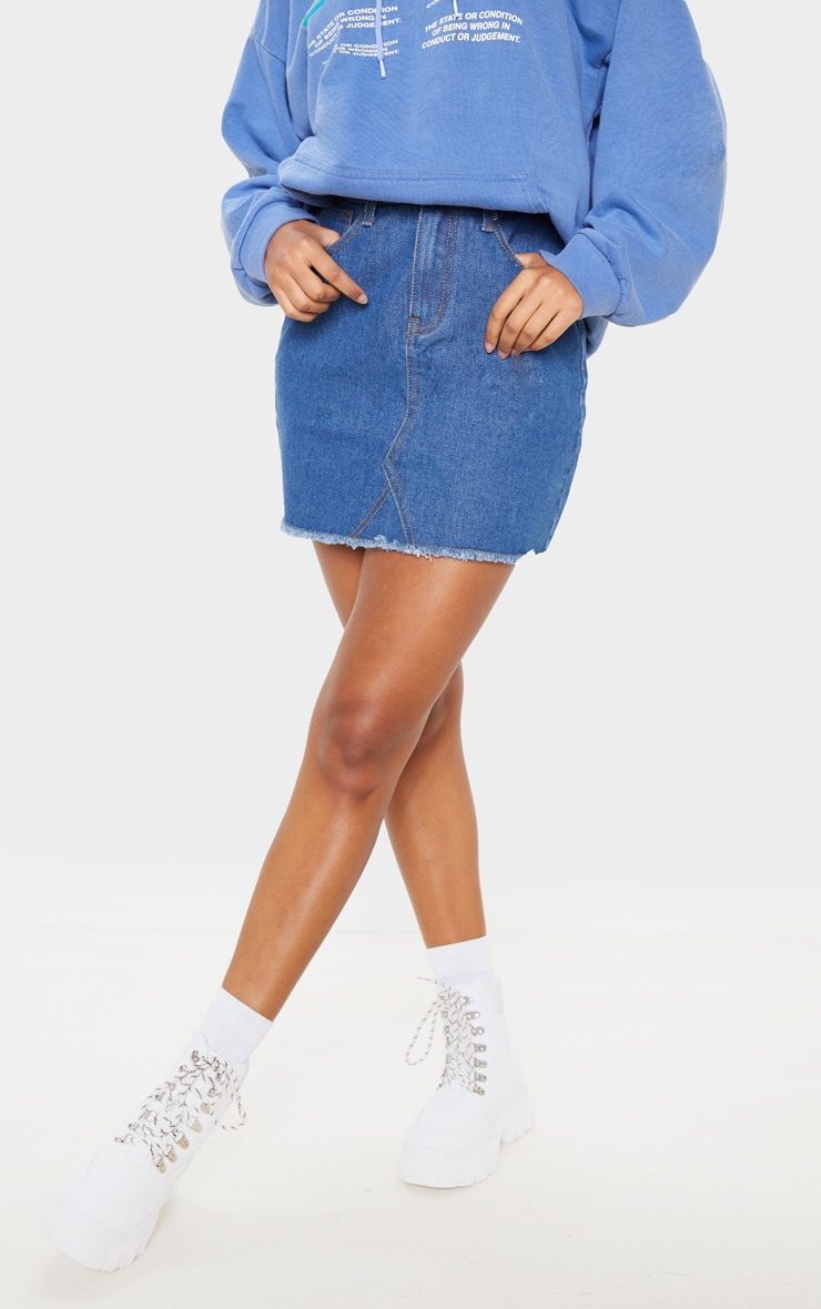 Basic Mid Wash Denim Skirt 2