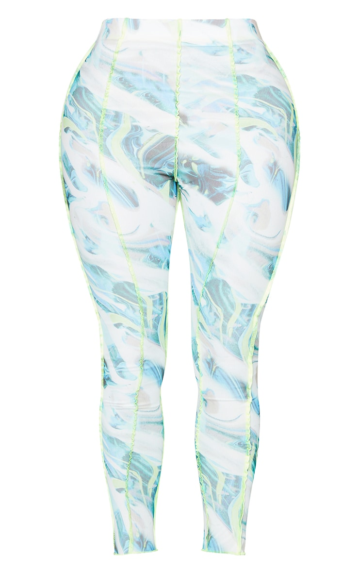 Shape White Marble Print Mesh Seam Detail Cropped Leggings 5