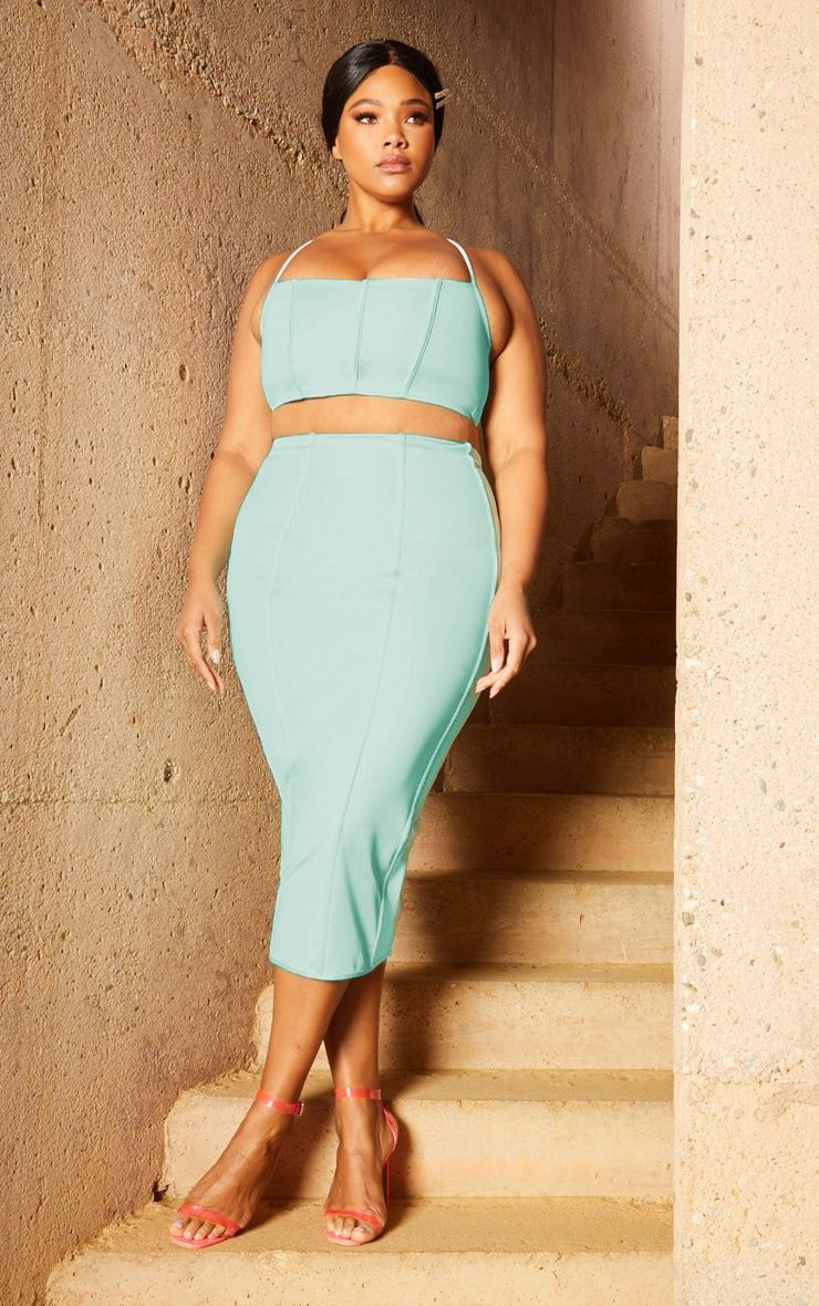 Plus Aqua Second Skin Binding Detail Midi Skirt 1