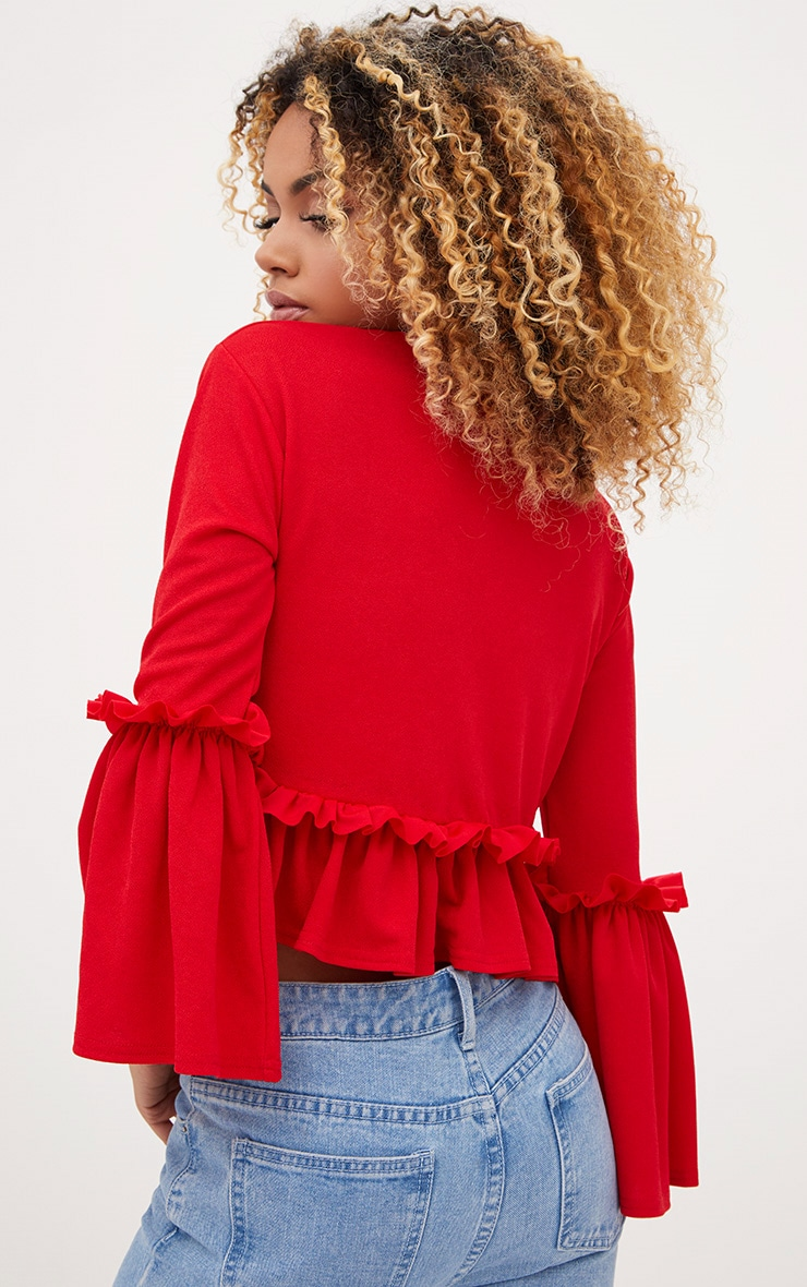 Red Frill Sleeve Top 2