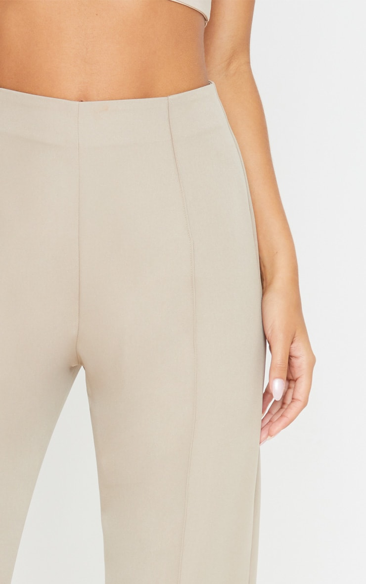 Taupe High Waisted Seam Detail Wide Leg Trouser 5