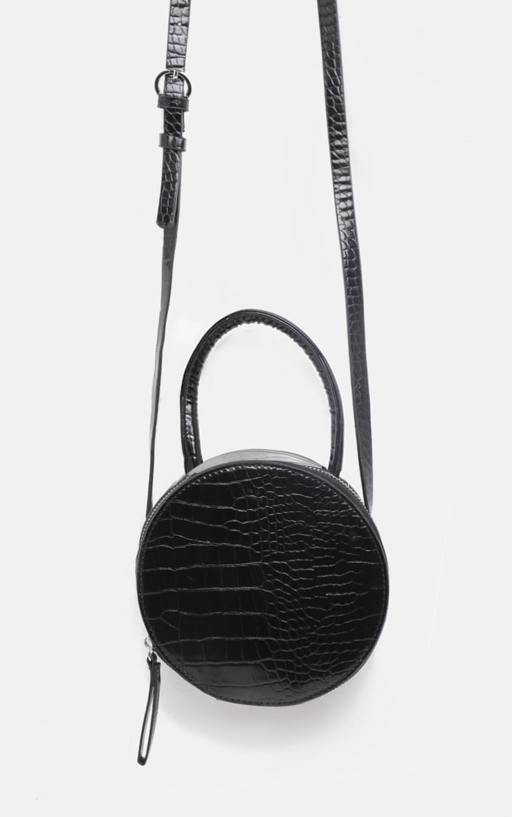Black Croc Round Cross Body Bag 2