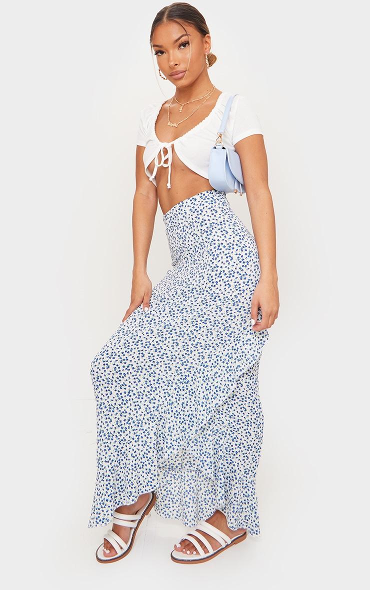 Blue Floral Woven Frill Hem Midi Skirt 1