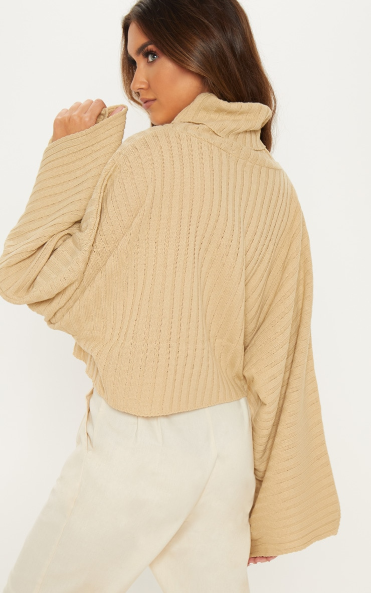 Camel Ribbed Knit High Neck Sweater  2