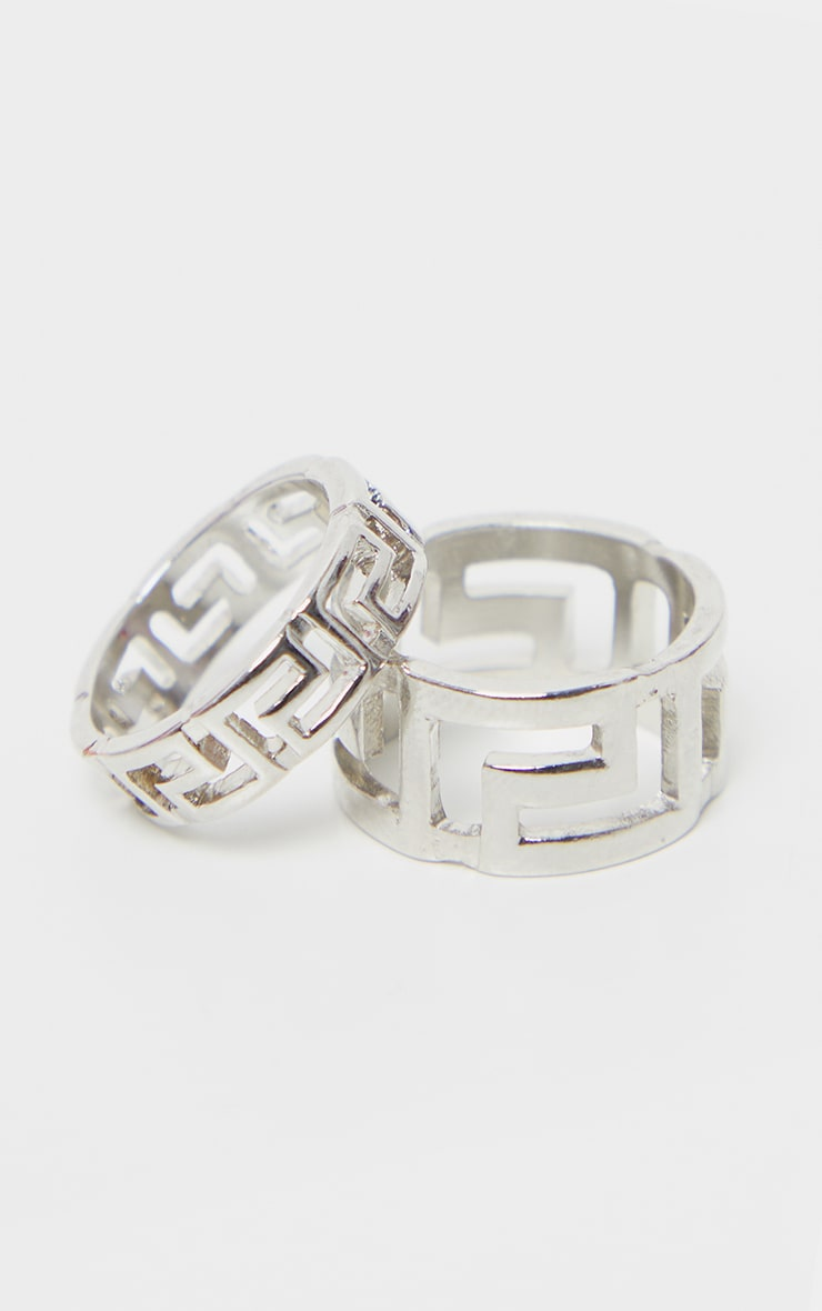 Silver Greek Key Two Pack Ring 1