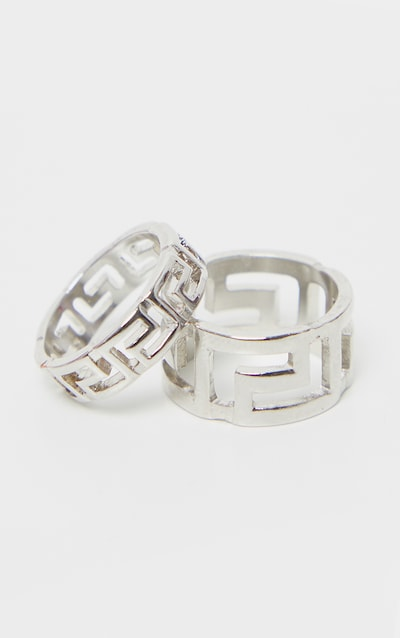 Silver Greek Key Two Pack Ring