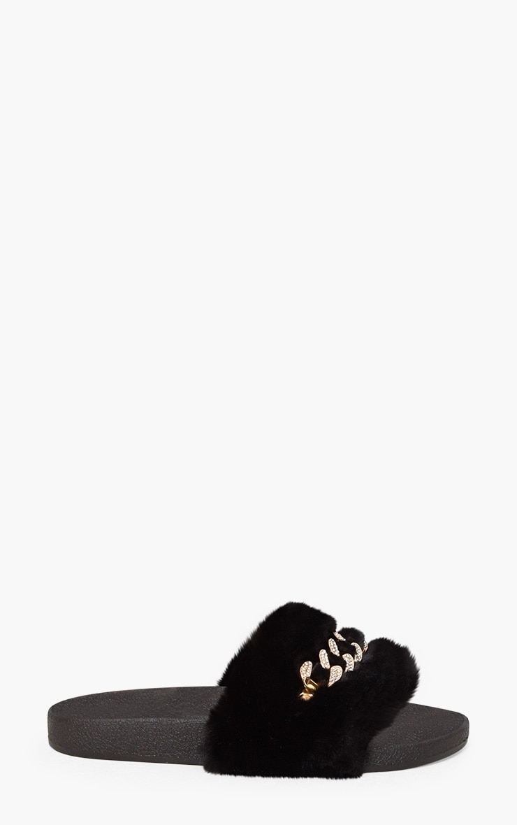 Black Faux Fur Diamante Chain Sliders 3