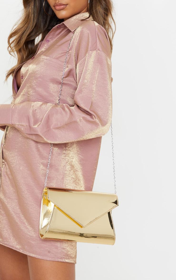 Gold Metallic Chain Cross Body Bag  1