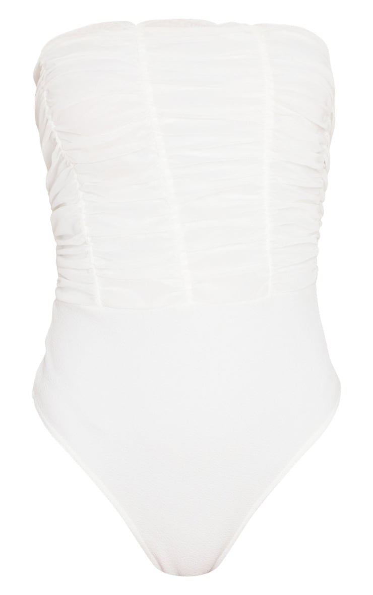 White Ruched Mesh Panelled Bandeau Bodysuit 3