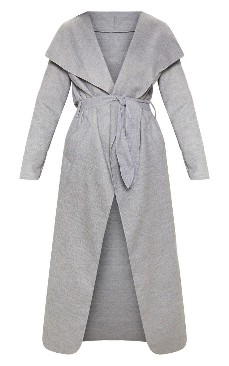 Grey Maxi Length Oversized Waterfall Belted Coat 3