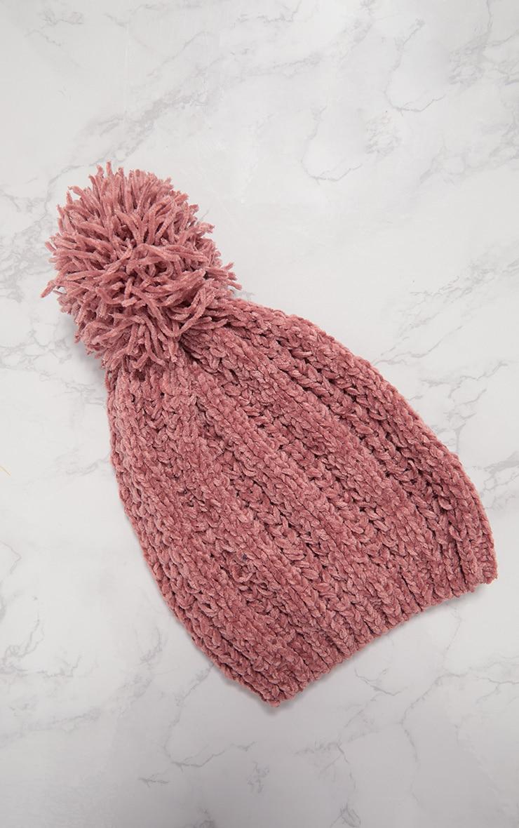 Rose Pom Pom Chenille Beanie Hat 4