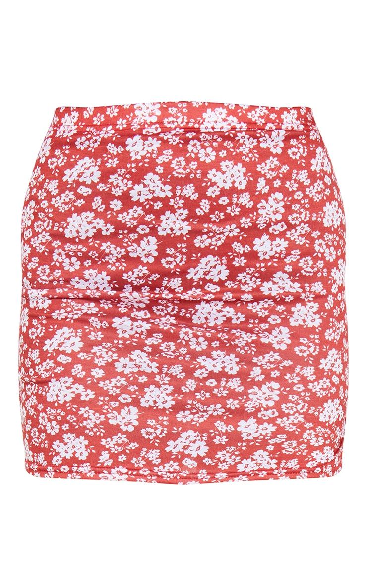 Red Ditsy Floral Print Split Hem Mini Skirt 6