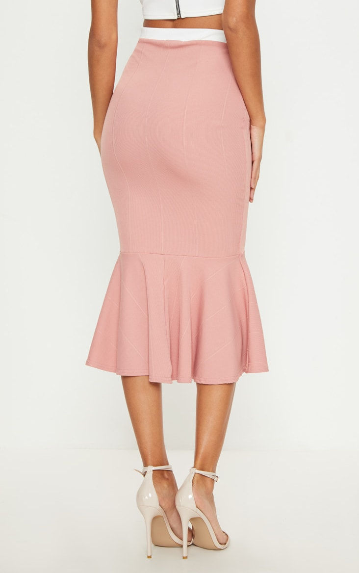 Dusty Pink Bandage Fishtail Midi Skirt 4