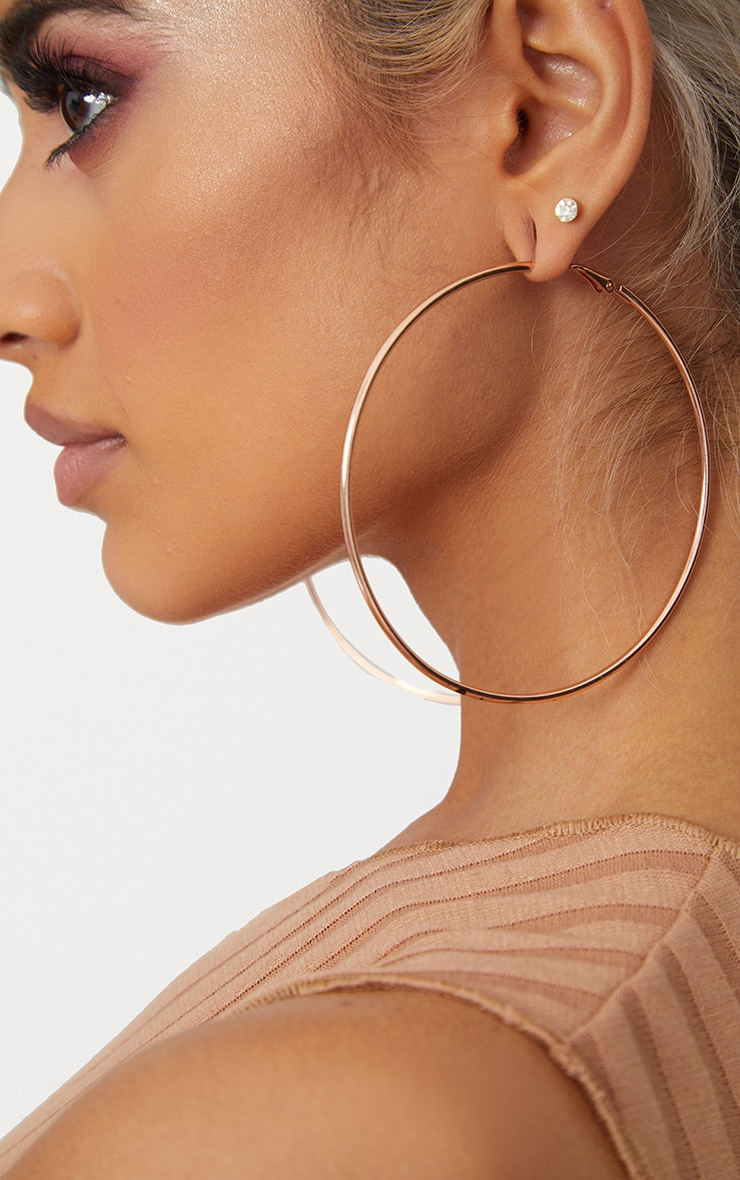 Rose Gold 80mm Large Hoop Earrings 2