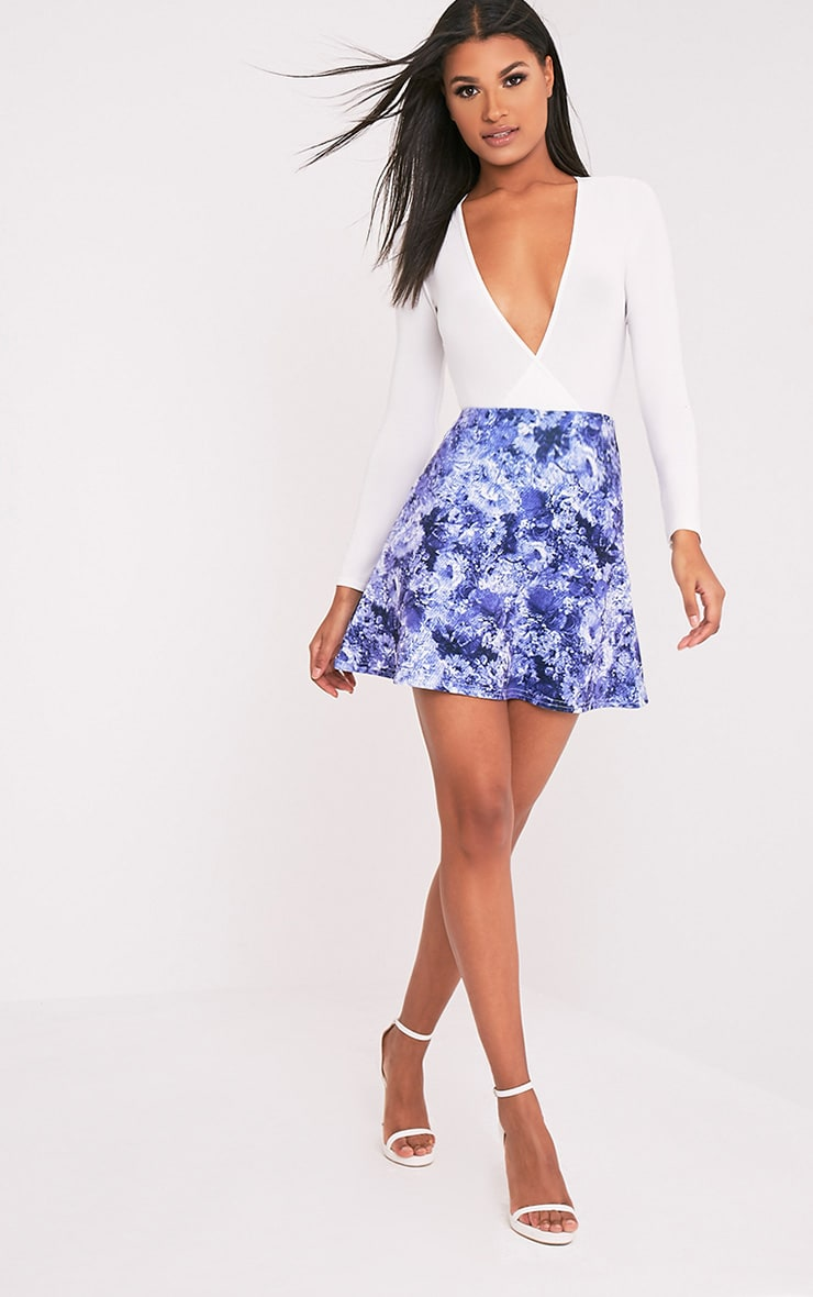 Tamira Blue Oriental A-Line Mini Skirt 6