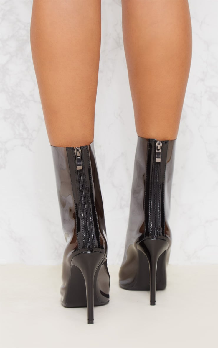 Black Clear Pointed Zip Back Heeled Boot 5