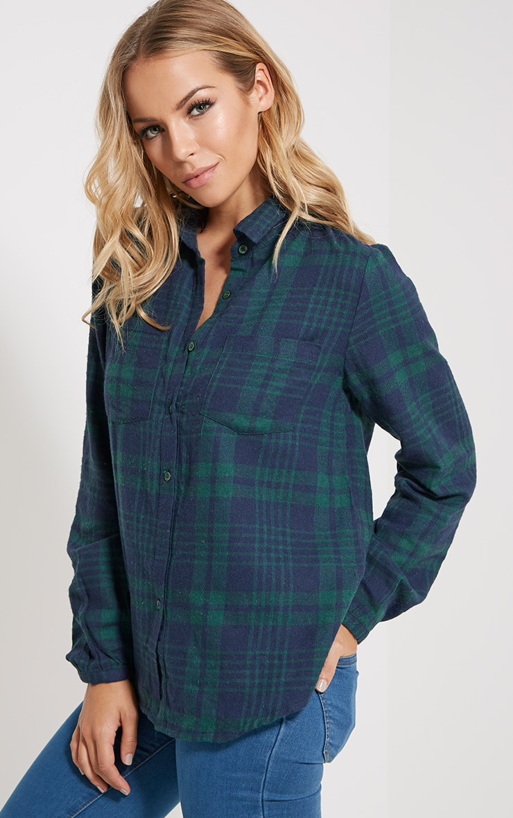 Mariel Green Checked Shirt 1