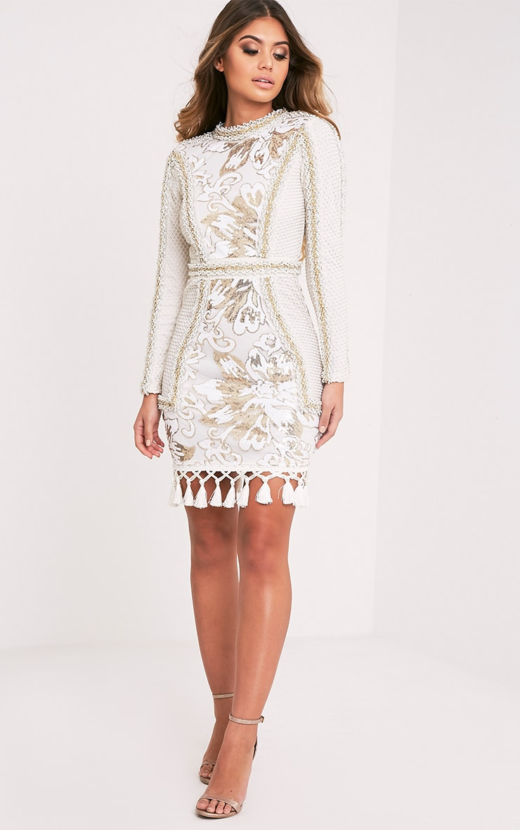 Nhyla White Premium Embellished Sequin Bodycon Dress 6