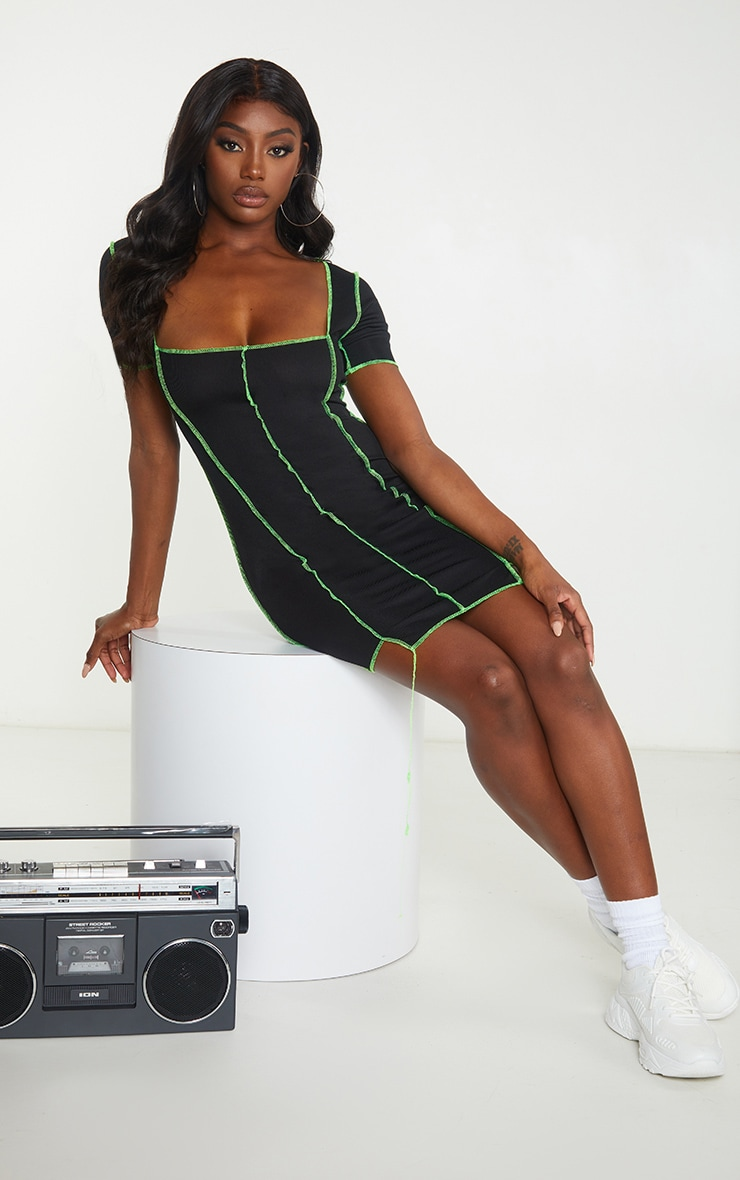 Black Rib Overlocked Bodycon Dress 1