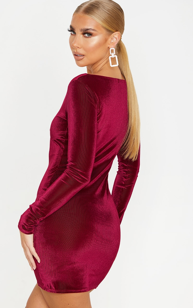Burgundy Velvet Rib Cup Detail Long Sleeve Bodycon Dress 2