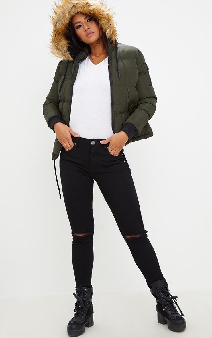 Khaki Puffer Jacket with Faux Fur Hood 1