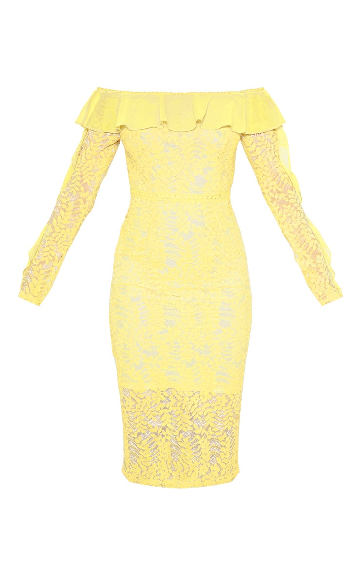 Lemon Bardot Lace Frill Sleeve Midi Dress 3