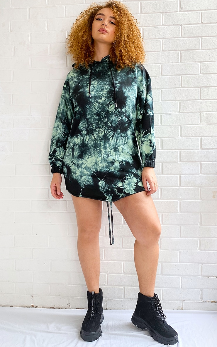 Plus Sage Green Tie Dye Ruched Hooded Sweat Dress 3