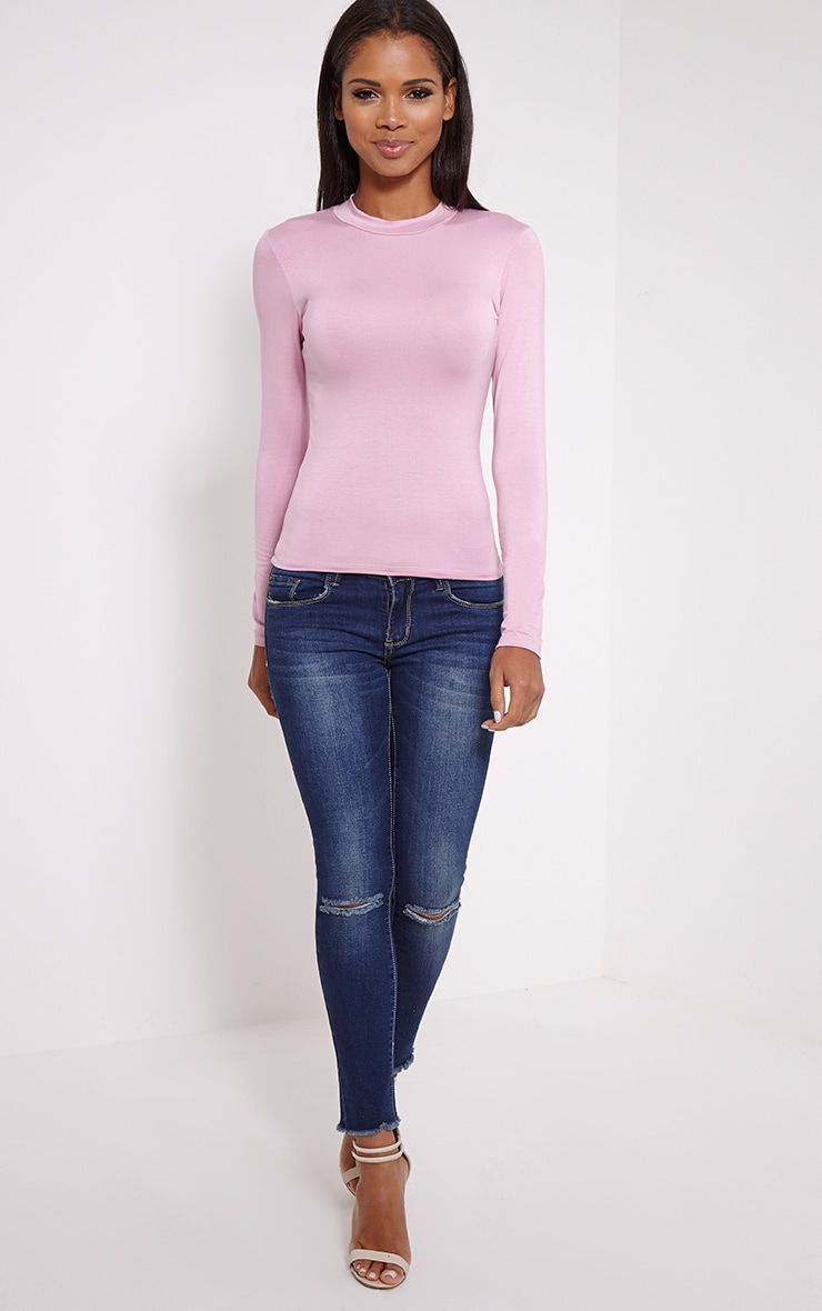Basic Mauve Turtle Neck Jersey Top 3