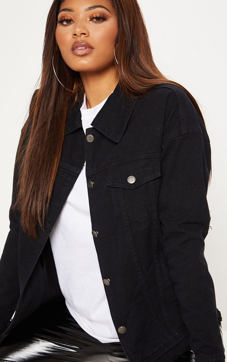 Tall Black Oversized Denim Jacket 5