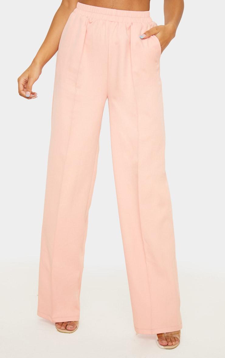 Pantalon rose jambes évasées à taille froncée 2