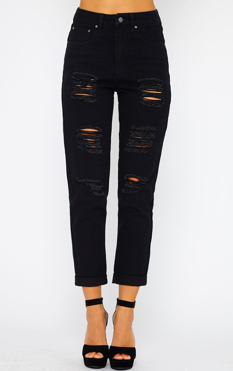 Ryker Black Ripped Mom Jeans  2