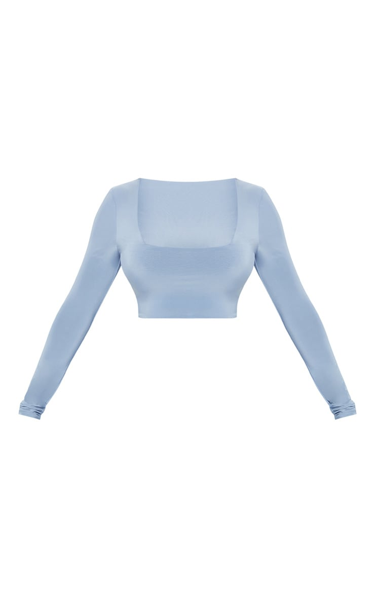 Dusky Blue Second Skin Square Neck Long Sleeve Crop Top  3