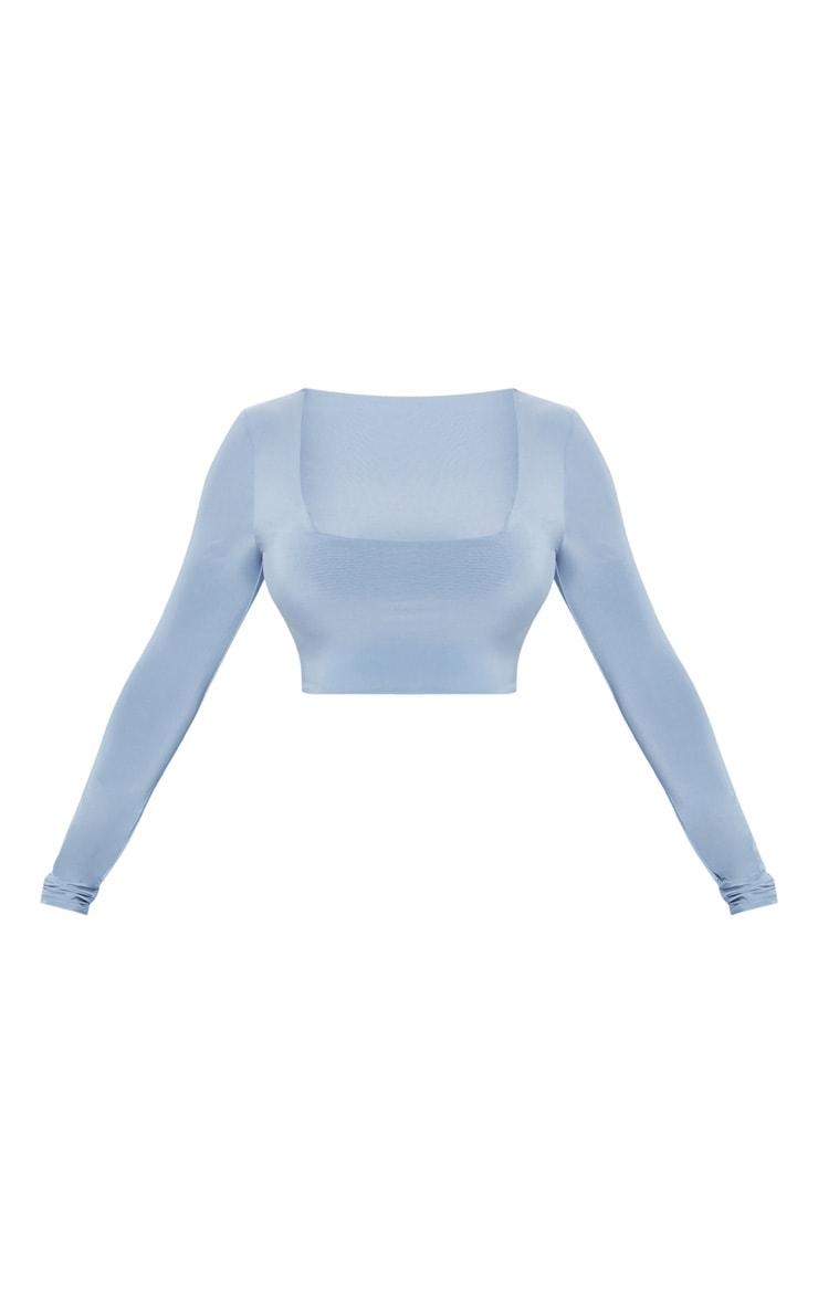 Seconde Peau - Crop top bleu cendré à manches longues et col carré 3