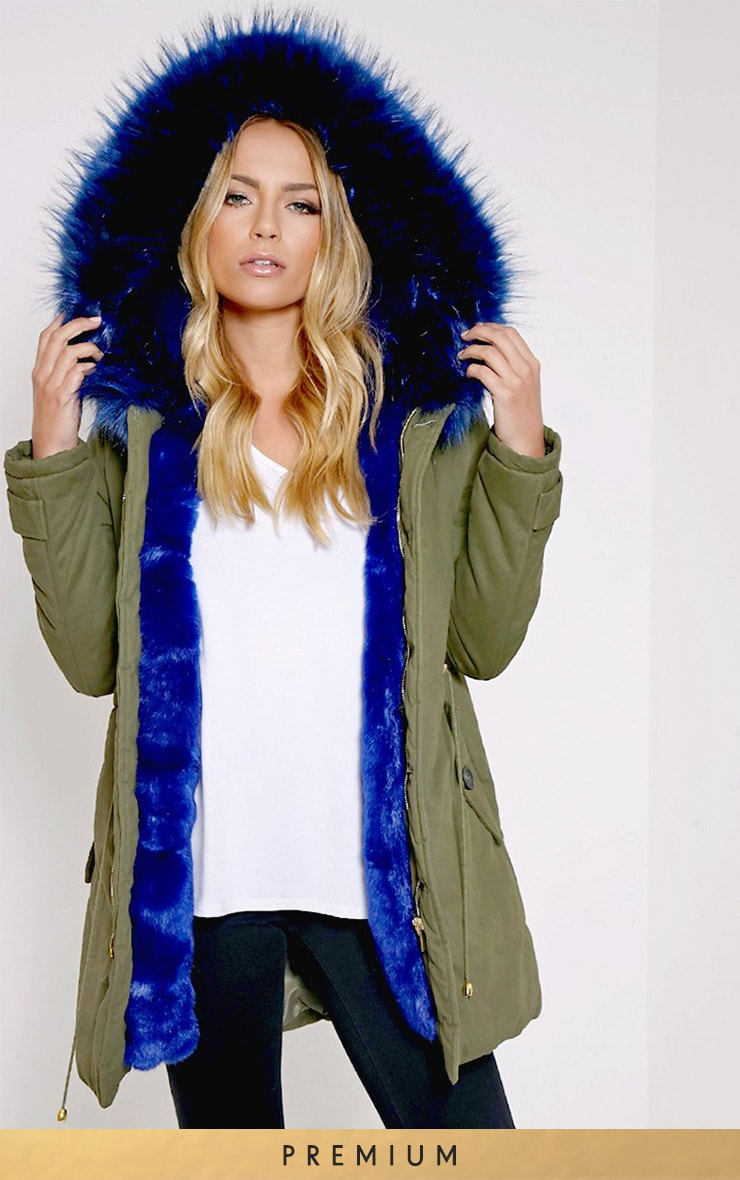 Jen Blue Fur Lined Premium Parka Coat 1