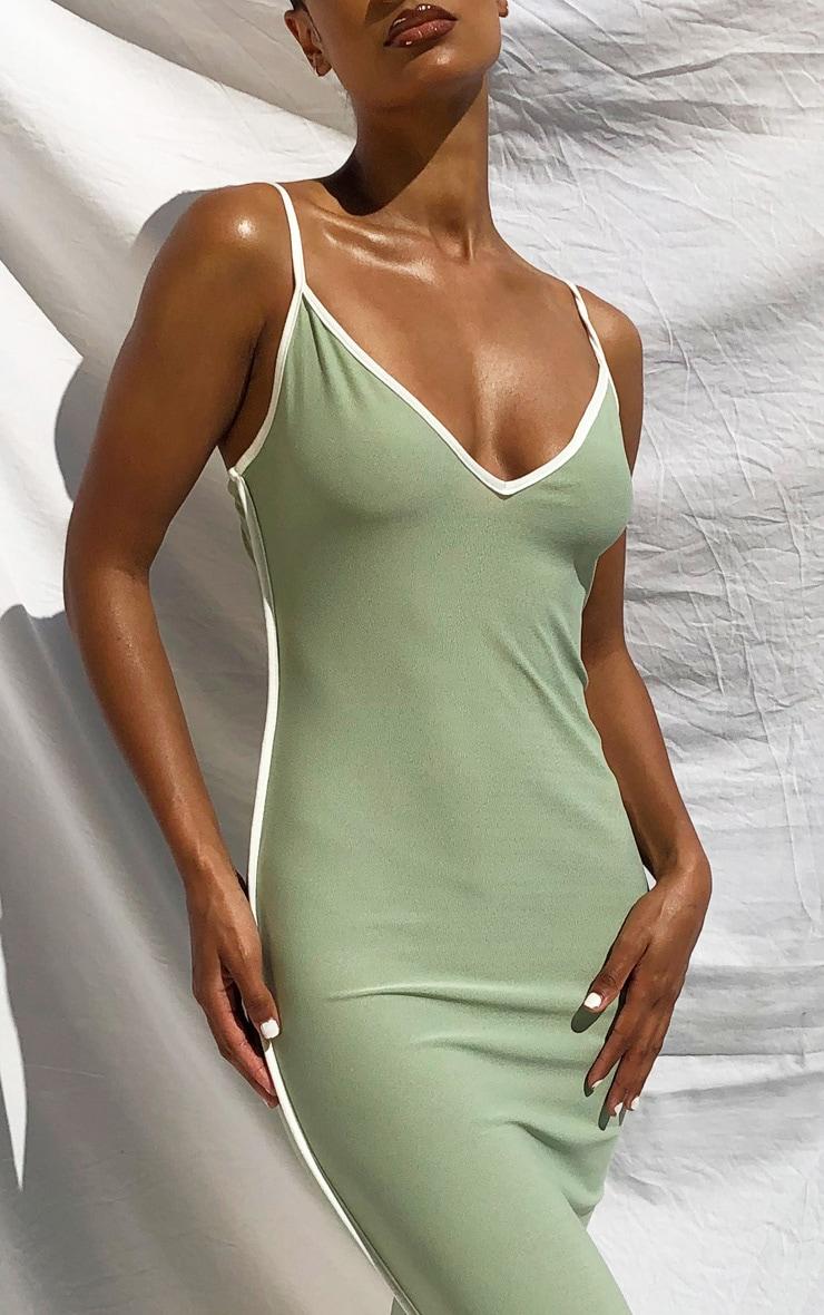 Sage Green Contrast Trim Detail V Neck Strappy Midaxi Dress 4