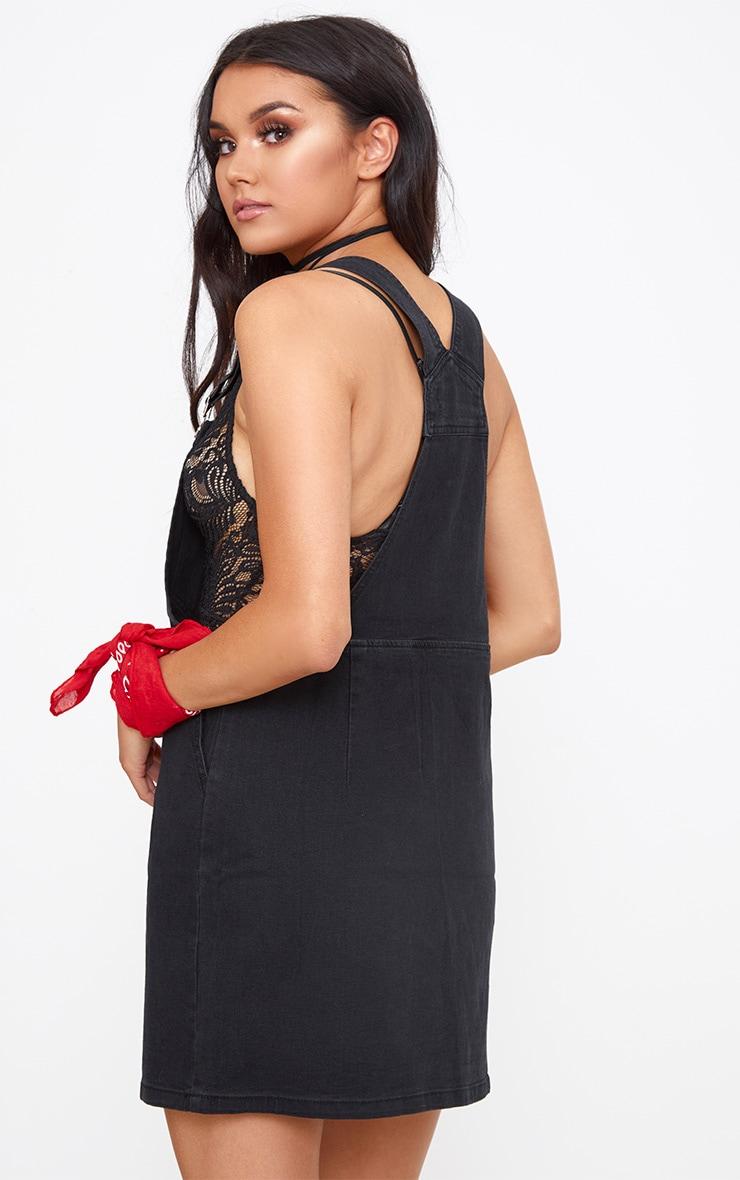 Black Pocket Front Denim Pinafore Dress 2