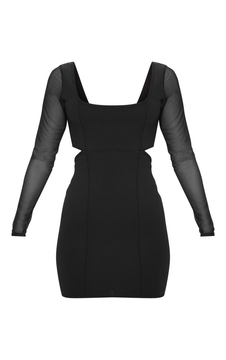 Black Mesh Sleeve Cut Out Bodycon Dress 3