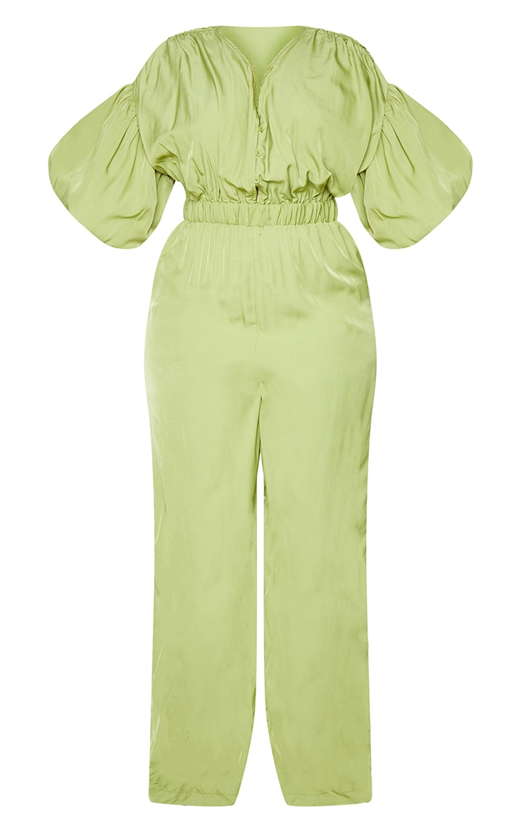 Plus Olive Puffball Sleeve Wide Leg Jumpsuit 5