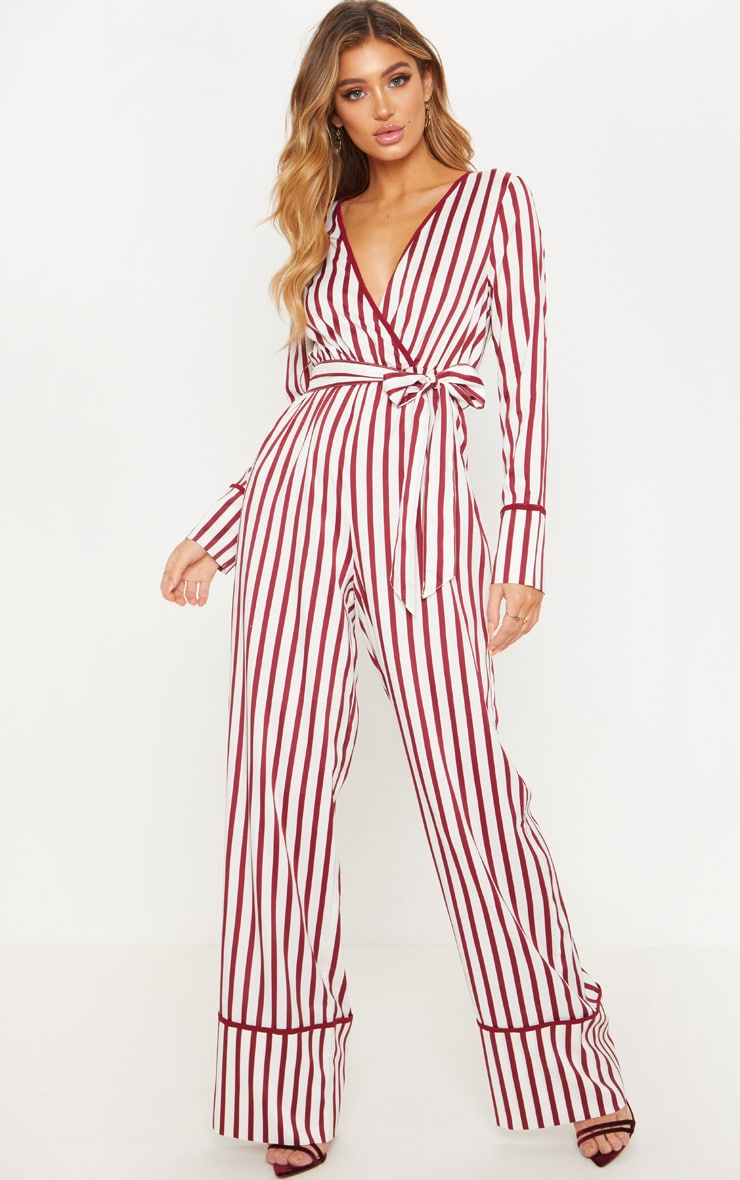 White Multi Stripe Plunge Satin Piped Wide Leg Jumpsuit