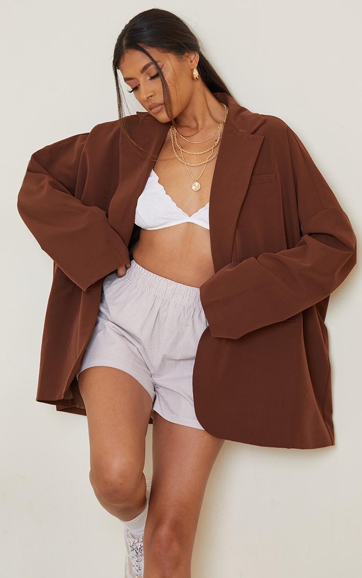 Chocolate Woven Drop Shoulder Oversized Dad Blazer 1