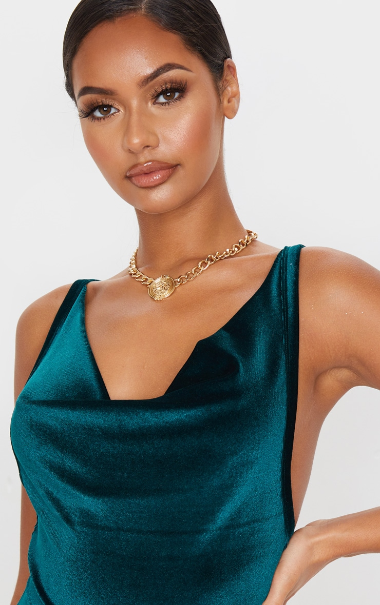 Emerald Green Velvet Cowl Neck Bodysuit 5
