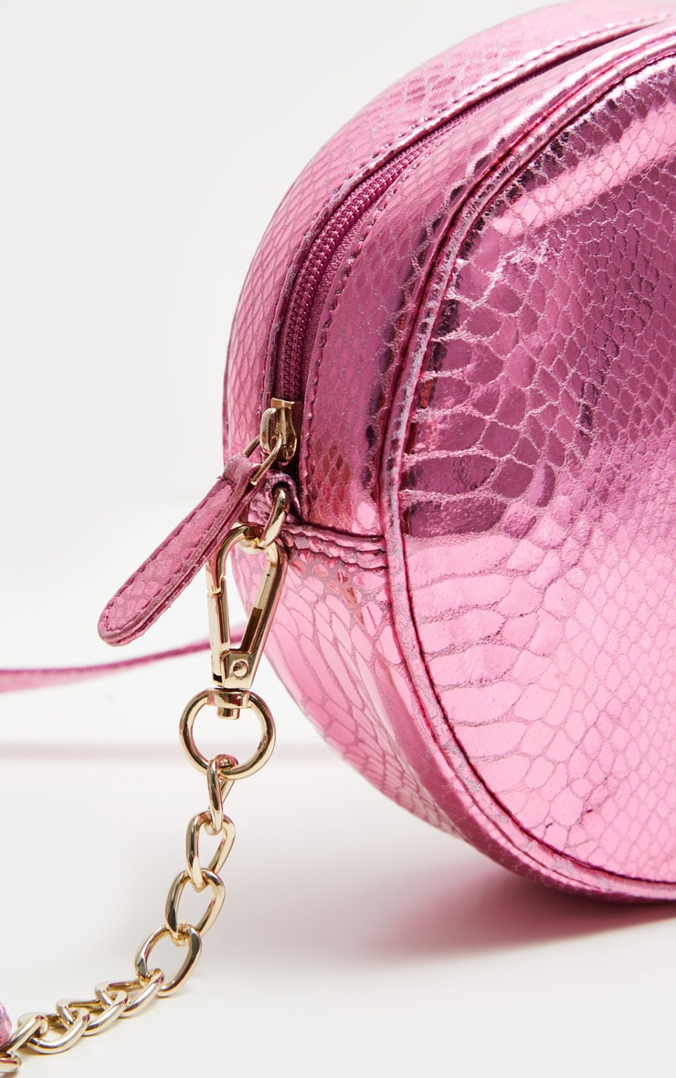 Pink LEATHER Round Cross Body Bag 4